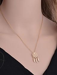 billiga -Dam Tofs Hänge Halsband Drömfångare Vintage Elegant Gulligt Guld Silver 40+5 cm Halsband Smycken 1st Till Bröllop Dagligen Festival