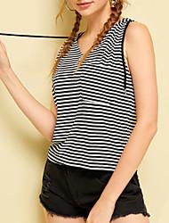 Χαμηλού Κόστους -Γυναικεία T-shirt Κομψό στυλ street Ριγέ / Φλοράλ Patchwork Μαύρο US4