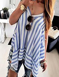 abordables -Mujer Básico Espalda al Aire Blusa A Rayas Azul Piscina US8