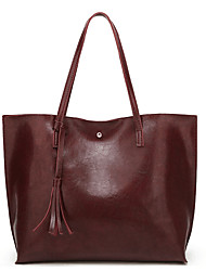 cheap -Women's Bags PU(Polyurethane) Tote Solid Color Gray / Brown / Wine