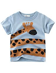tanie -Brzdąc Dla chłopców Moda miejska Nadruk Krótki rękaw Bawełna T-shirt Jasnoniebieski