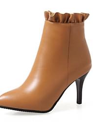 Недорогие -Жен. Полиуретан Осень Ботинки На шпильке Ботинки Черный / Серый / Желтый