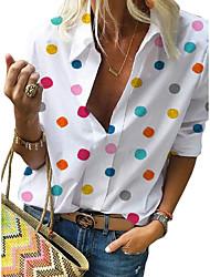 Недорогие -Жен. С принтом Рубашка Уличный стиль Горошек Белый US16