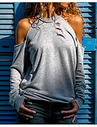 preiswerte -Damen Solide T-shirt Ausgeschnitten Schwarz US6