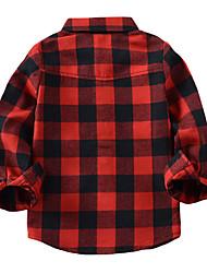 tanie -Brzdąc Dla chłopców Moda miejska Kratka Długi rękaw Bawełna Koszula Czerwony