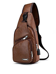 Недорогие -Муж. Молнии PU Слинг сумки на ремне Сплошной цвет Черный / Коричневый / Темно-коричневый