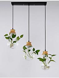 Недорогие -Твердые деревянные стеклянные садовые растения лампа ресторан витрина творческая личность подвесной светильник 3 шт. с прямоугольной потолочной пластиной
