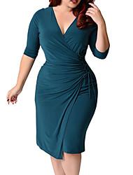 Недорогие -Жен. Большие размеры Хлопок Облегающий силуэт Платье V-образный вырез Ассиметричное