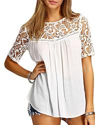 olcso -Alap / Elegáns Női Póló - Egyszínű, Kivágott Fehér US2