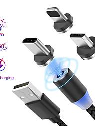 Недорогие -Подсветка Кабель 1.0m (3FT) Плетение / Магнитный / LED Нейлон / Нетканые / люминесцентный Адаптер USB-кабеля Назначение iPad / iPhone