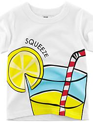 tanie -Brzdąc Dla chłopców Moda miejska Nadruk Krótki rękaw Bawełna T-shirt Biały