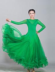 저렴한 -볼륨 댄스 드레스 여성용 트레이닝 / 성능 튤 / 아이스 실크 스플리트 조인트 긴 소매 드레스