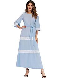 preiswerte -Traditionelle und kulturelle Kleidung Kleider Damen Freizeitskleidung Polyester Spitze 3/4 Ärmel Kleid