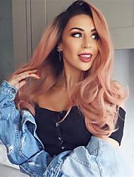 povoljno -Perike s ljudskom kosom Water Wave Stil Srednji dio Capless Perika Pink Ružičasta Sintentička kosa 26 inch Žene Žene Pink Perika Dug Prirodna perika
