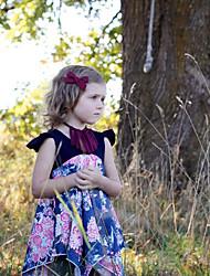 abordables -Enfants Bébé Fille Fleur Robe Bleu