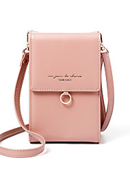 Недорогие -Жен. PU Мобильный телефон сумка Сплошной цвет Черный / Коричневый / Розовый