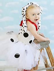 Недорогие -Дети Дети (1-4 лет) Девочки Активный Симпатичные Стиль Белый Горошек Животное Открытая спина Сетка Пэчворк Без рукавов До колена Платье Белый