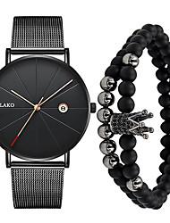 Недорогие -Муж. Нарядные часы Кварцевый Нержавеющая сталь Черный / Серебристый металл / Золотистый 30 m Защита от влаги Календарь Новый дизайн Аналоговый На каждый день Мода -  / Один год