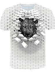Недорогие -Муж. С принтом Футболка Уличный стиль / преувеличены Контрастных цветов / 3D / Животное Белый US40