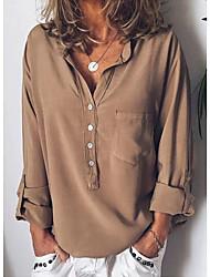 preiswerte -Damen Solide - Grundlegend Hemd Patchwork Orange US4