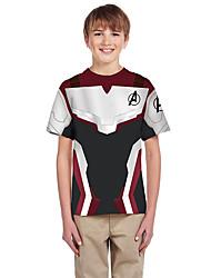 tanie -Dzieci Dla chłopców Moda miejska Kolorowy blok Krótki rękaw Bawełna T-shirt Biały