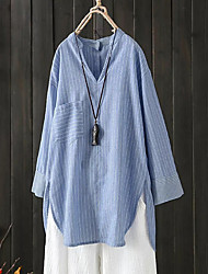 baratos -Mulheres Camisa Social Listrado Azul US12