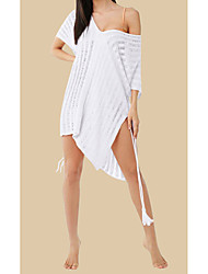 cheap -Women's Basic White Beige Bandeau Cover-Up Swimwear - Geometric One-Size White