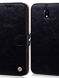 Недорогие -Кейс для Назначение SSamsung Galaxy J3 (2017) Бумажник для карт / Флип Чехол Однотонный Твердый Кожа PU