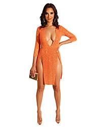 ราคาถูก -เสื้อผ้าเต้นรำที่แปลกใหม่ Nightcub Jumpsuits สำหรับผู้หญิง Performance เส้นใยสังเคราะห์ ปักเลื่อม แขนยาว 3/4 ชุดเดรส