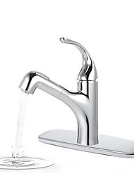 Недорогие -Ванная раковина кран / Смеситель - Вытяжная лейка Хром По центру Одной ручкой одно отверстиеBath Taps