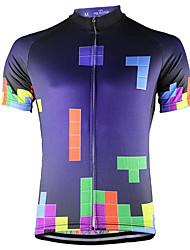 Недорогие -21Grams Tetris Муж. С короткими рукавами Велокофты - Фиолетовый Велоспорт Верхняя часть Устойчивость к УФ Дышащий Влагоотводящие Виды спорта Терилен Горные велосипеды Шоссейные велосипеды Одежда