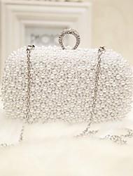 Недорогие -Жен. Жемчужная отделка Шелк Вечерняя сумочка Однотонный Белый / Розовый