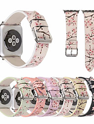 Недорогие -ремешок из натуральной кожи сливового цвета для apple watch band 44мм / 40мм / 38мм / 42мм браслет с цветочным принтом для iwatch серии 1 2 3 4 аксессуары