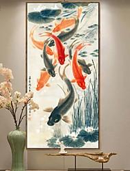 Недорогие -Отпечаток в раме Масляная картина в раме - Животные Дерево Масляные картины Предметы искусства
