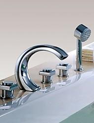 Недорогие -Смеситель для ванны - Современный Хром Разбросанная Медный клапан Bath Shower Mixer Taps