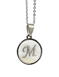 Недорогие -Муж. Жен. Белый Ожерелья с подвесками Ожерелье с шармом X Алфавит Классический Нержавеющая сталь Белый 50 cm Ожерелье Бижутерия 1шт Назначение Повседневные