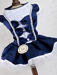 Недорогие -Платья Одежда для собак Бант Кружева Принцесса Красный Синий Акриловые волокна Костюм Назначение Весна Лето Юбки и платья Свадьба