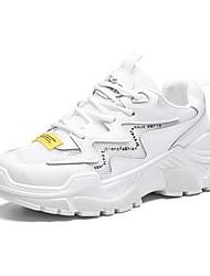 Недорогие -Жен. Сетка / Эластичная ткань Весна лето Папа обувь Спортивная обувь Для прогулок На плоской подошве Круглый носок Белый / Бежевый