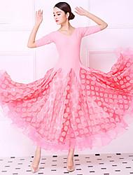 저렴한 -볼륨 댄스 드레스 여성용 트레이닝 / 성능 크리스탈 면 / 메쉬 / 라이크라 루시 주름 장식 / 스플리트 조인트 반 소매 내츄럴 드레스