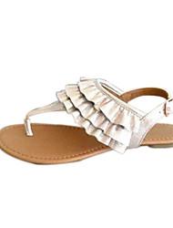 baratos -Mulheres Sandálias Sem Salto Camurça Verão Bege