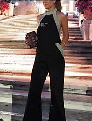 abordables -Mujer Sofisticado Negro Mono, Un Color Lentejuelas L XL XXL