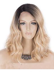 povoljno -Perike s ljudskom kosom Tijelo Wave Stil Srednji dio Capless Perika Zlatna Svijetlo zlatna Sintentička kosa 18 inch Žene Žene Zlatna Perika Dug Prirodna perika