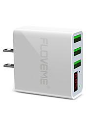 Недорогие -floveme us plug быстрая быстрая зарядка 3 порта USB светодиодный цифровой дисплей с поддержкой телефона / стола и других устройств (белый)