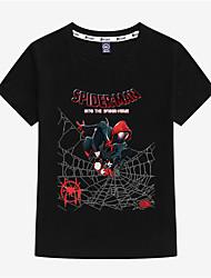 tanie -Dzieci Brzdąc Dla chłopców Podstawowy Nadruk Nadruk Krótki rękaw Bawełna T-shirt Czarny