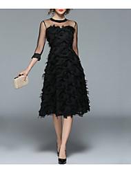 Недорогие -Жен. На выход Винтаж / Уличный стиль А-силуэт / Маленькое черное Платье - Однотонный, С кисточками Средней длины