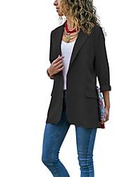 Недорогие -Жен. Блейзер, Однотонный Лацкан с тупым углом Полиэстер Черный / Красный / Тёмно-синий M / L / XL
