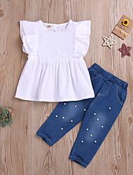abordables -Enfants Fille Actif Basique Couleur Pleine Imprimé Perlé Imprimé Sans Manches Normal Normal Coton Ensemble de Vêtements Blanc