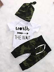 Недорогие -малыш Мальчики Активный / Классический С принтом С короткими рукавами Обычный Набор одежды Военно-зеленный