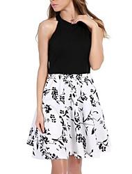 abordables -Mujer Básico Línea A Vestido - Plisado, Floral Hasta la Rodilla