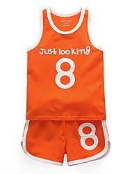 tanie -Brzdąc Dla dziewczynek Moda miejska Nadruk Bez rękawów Bawełna Komplet odzieży Pomarańczowy